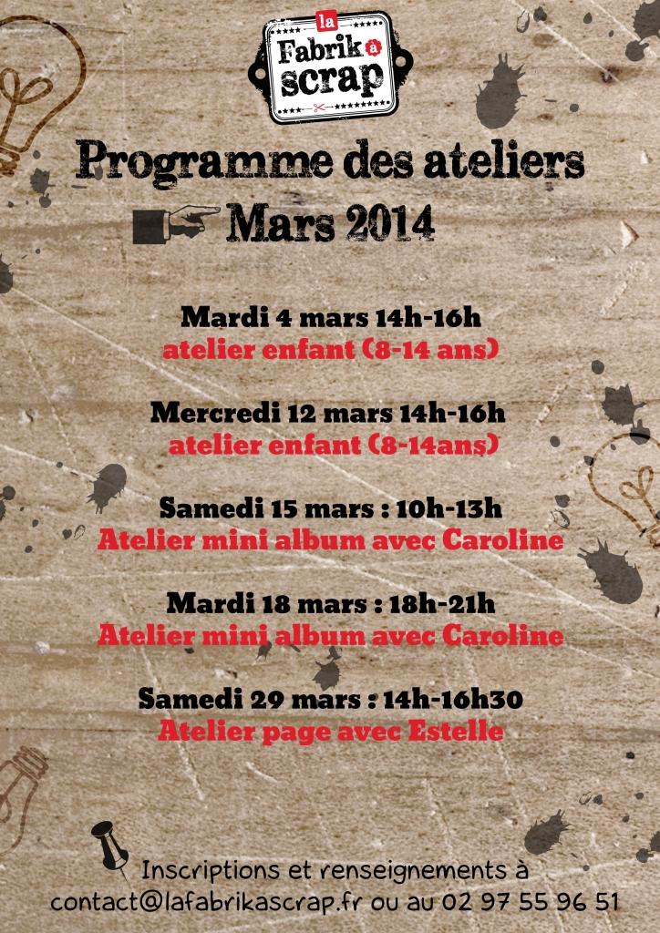 Programme des ateliers du mois de mars à La Fabrik à Scrap